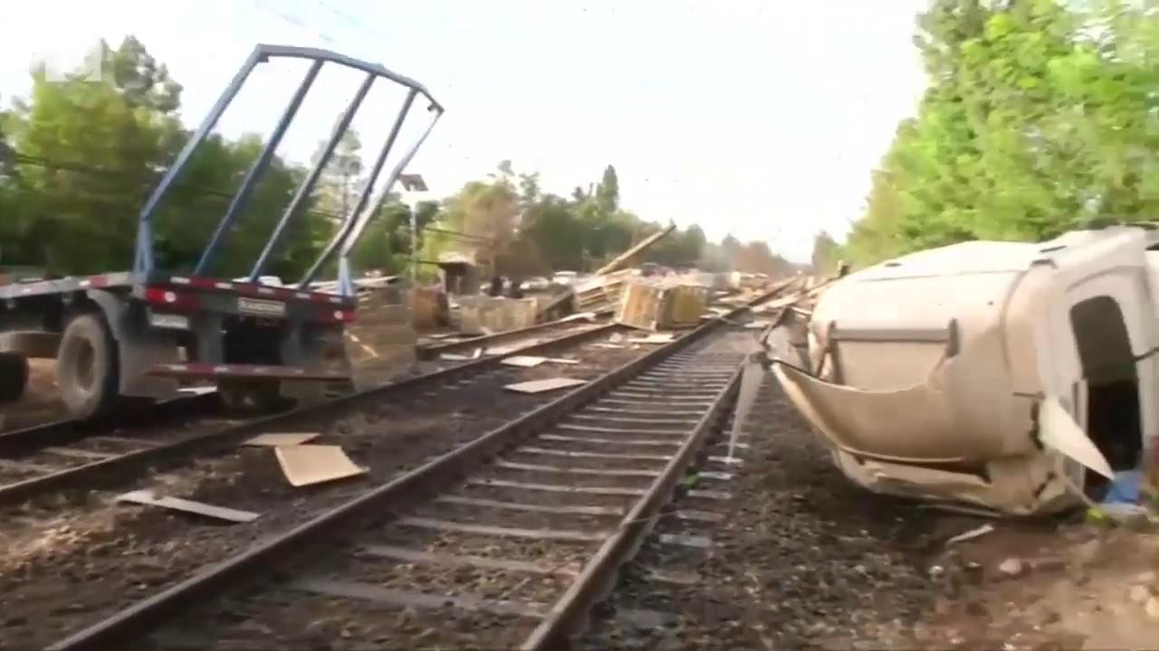 Truck, train crash caught on camera