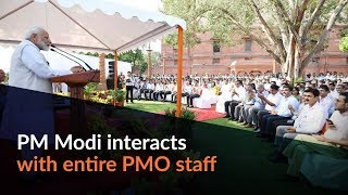 PM Modi interacts with entire PMO staff