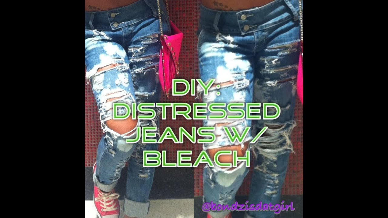 DIY: Distressed Jeans w/ Bleach - YouTube