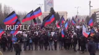Ukraine  Donetsk protesters call for implementation of Minsk agreements