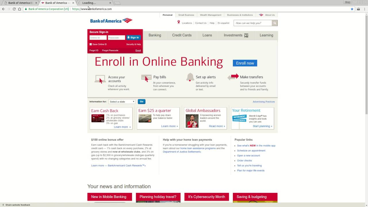 Bank of america online banking login tutorial youtube bank of america online banking login tutorial colourmoves