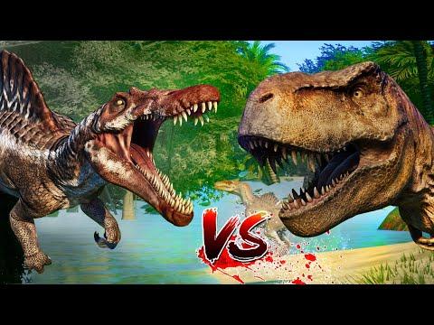 Spinosaurus,Tyrannosaurus Vs Spinoraptor and break out( Jurassic Cinema ) - Jurassic World Evolution