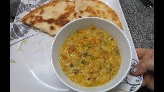 54.  Дождь... Готовим по индийски:  дал (чечевица)  и чиз гарлик нан (лепёшка с сыром и чесноком).