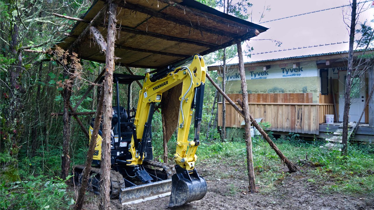 No Cost Bushcraft Style Excavator Shelter in One Day
