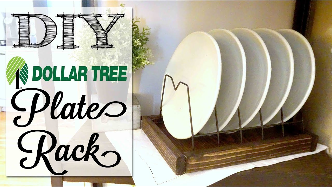 DIY Dollar Tree Farmhouse Plate Rack & DIY Dollar Tree Farmhouse Plate Rack - YouTube