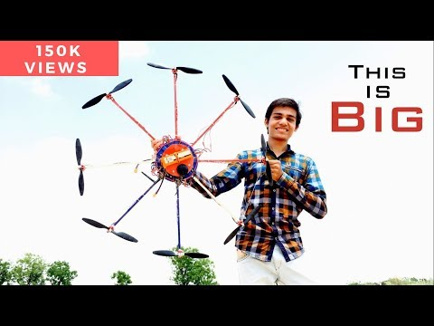 Huge Homemade Octocopter Drone - Flight test Or Crash test?