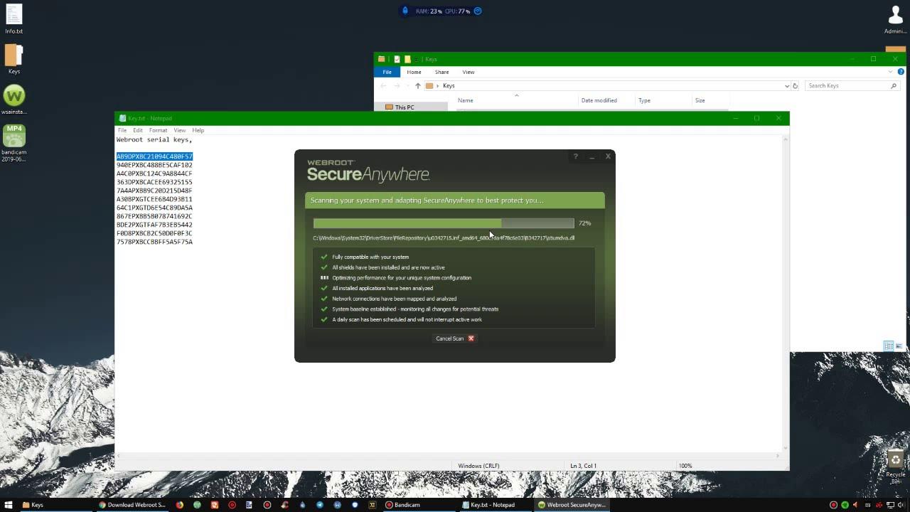 Webroot SecureAnywhere AntiVirus 9 0 24 49 + Keys 2019