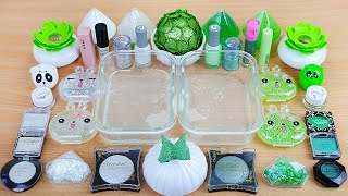 WHITE vs GREEN SLIME Mixing makeup and glitter into Clear Slime Satisfying Slime Videos