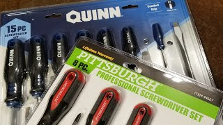 Harbor Freight Quinn Vs. Pittsburgh Professional Screw Driver Sets, Review & Comparison