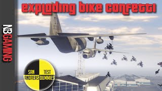 One of N&B Gaming's most viewed videos: GTA5 Exploding Bike Confetti Stunt - San Andreas Test Dummies Ep. 48 - GTA5 Funny Moments and Stunts