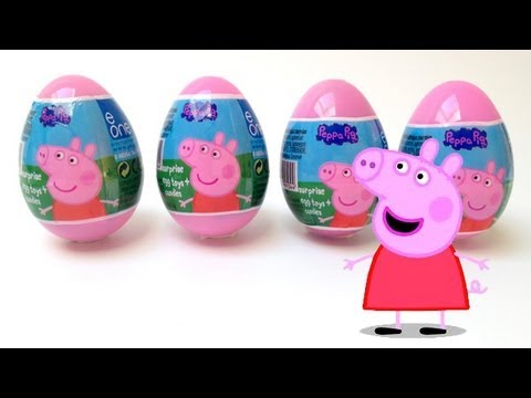 4 Peppa Pig Surprise Eggs Unwrapping - Toy Review Travel Video