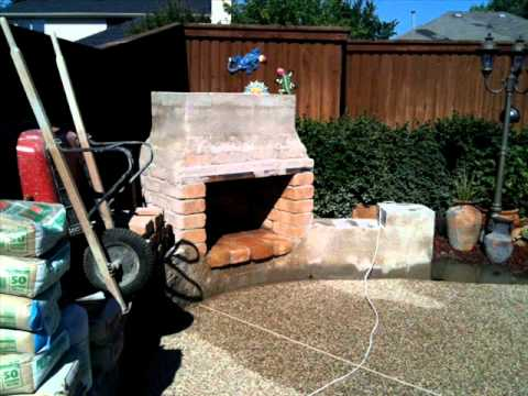 OUTDOOR STONE FIREPLACE HOMEMADE PROJECT FINAL - YouTube
