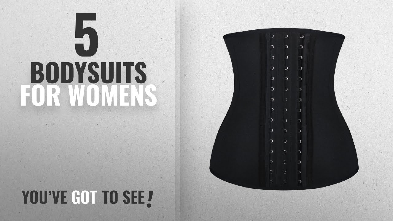 902852e5ec31c Top 10 Bodysuits For Womens  2018   Burvogue Women s Three Hooks Latex  Waist Trainer Corset Body