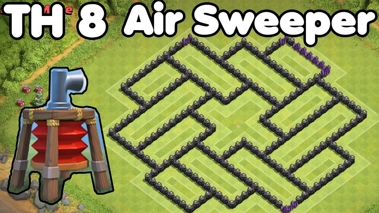 Base with air sweeper best th8 farming base defense strategy youtube