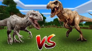 INDOMINUS REX vs T REX in Minecraft PE (Pocket Edition) (MCPE)! ▻Hi...