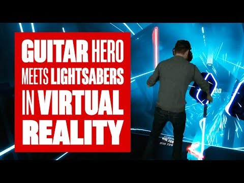 Chris plays Beat Saber - Guitar Hero + Lightsabers in VR!
