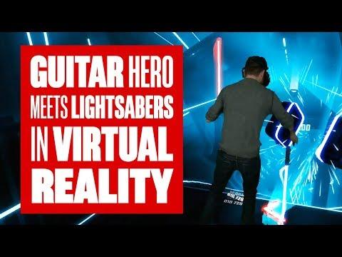 Chris plays Beat Saber  Guitar Hero + Lightsabers in VR!