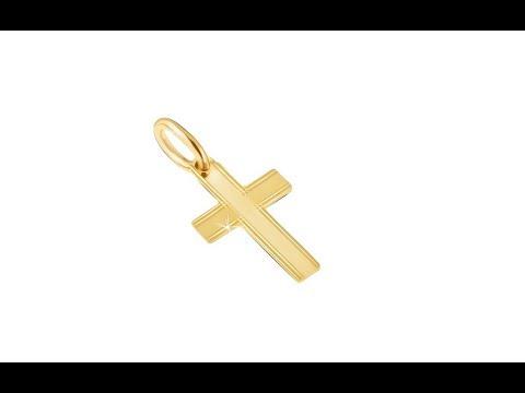 fb7136cb3 Šperky - Prívesok v žltom 14K zlate - lesklý latinský kríž, tenké ryhy na  okrajoch