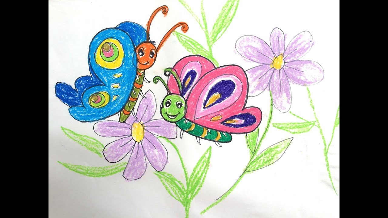Painting animals for kids | How to draw butterfly | Bé tập ...