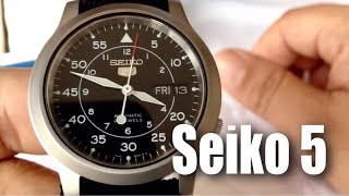 """Seiko Men's SNK809 """"Seiko 5"""" Automatic Watch with Black Canvas Strap unboxing and review"""