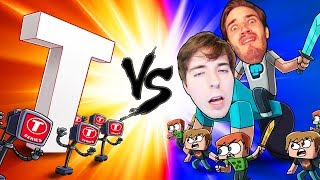 Minecraft | PEWDIEPIE VS T SERIES - The Great War! (Massive Mob Battles)