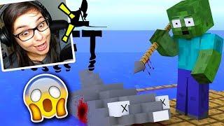 DESAFIO RAFT NO MINECRAFT! ESCOLA MONSTRO! Minecraft Animação: Vídeo Reagindo