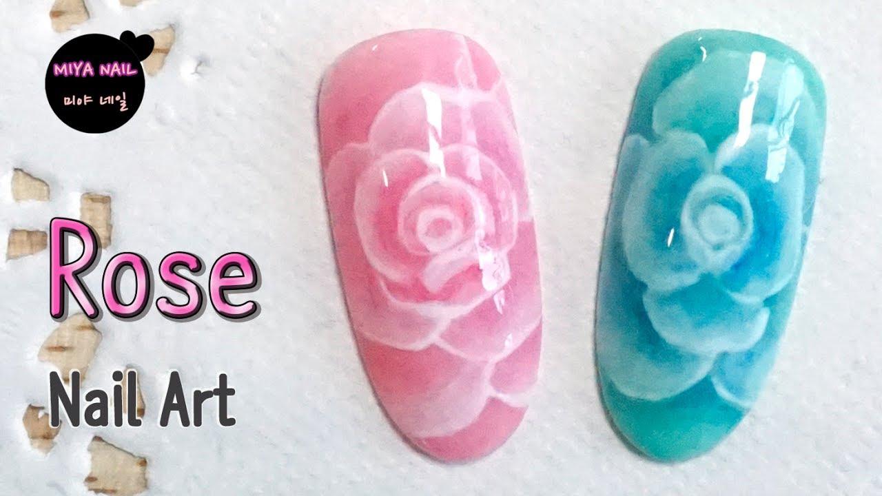 Rose Flower Nail Art (gel nails) - YouTube