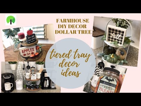 FARMHOUSE DIY DECOR DOLLAR TREE/TIERED TRAY DECOR IDEAS