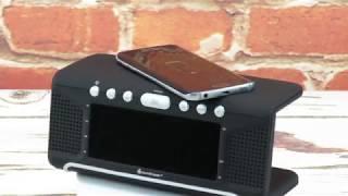 soundmaster UR800 FM Alarm Clock Radio & Qi Wireless Charging Station
