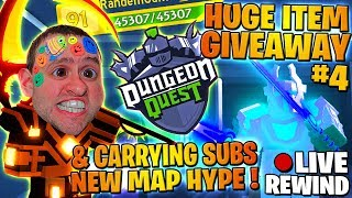 RIESIGE ITEM GIVEAWAY #4 🏆 CARRYING SUBS 🏰 Königsschloss ⚔ Dungeon Quest - Roblox PRO PC 🔴 LIVE Rewind