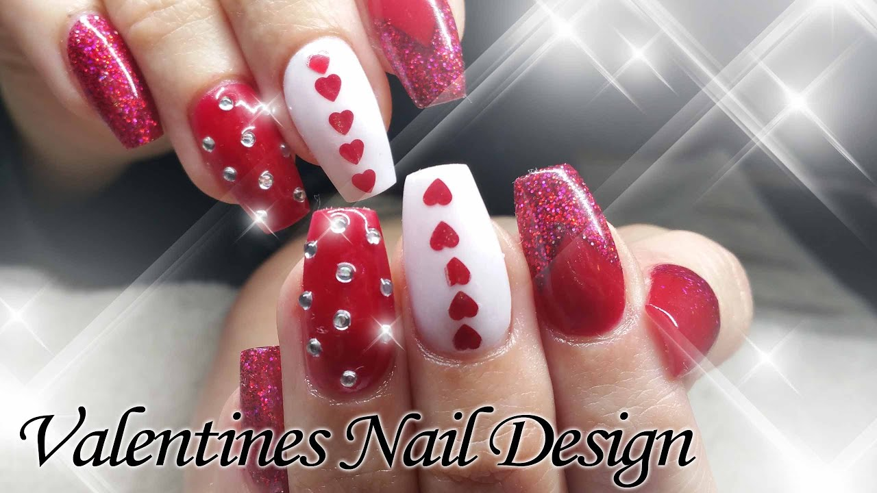 valentines day acrylic nail design