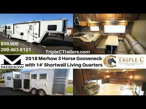 2018 Merhow 3 Horse Gooseneck with 14′ Shortwall Living Quarters