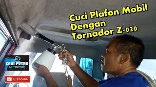 Cuci Atap Plafon Mobil dengan menggunakan Tornador cleaning tools