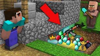Minecraft NOOB vs PRO: WHAT DID VILLAGER BURY UNDER BLACKSMITH FROM NOOB? Challenge 100% trolling