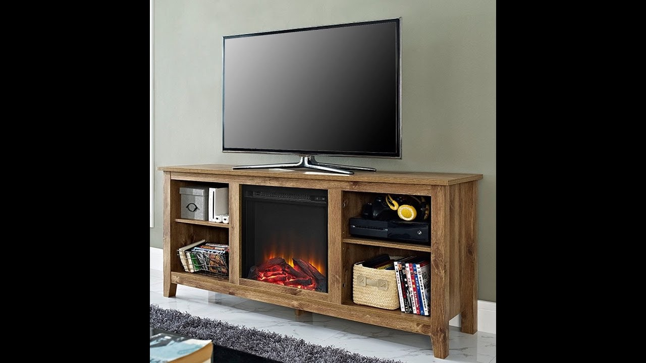 Electric Fireplace Media Center - YouTube