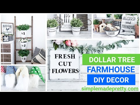 DOLLAR TREE Farmhouse Decor DIY Ideas, Dollar Store farmhouse ladder, farmhouse buckets, DIY gnomes