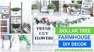 DOLLAR TREE Farmhouse Decor DIY Ideas, Dollar Store farmhouse ladder, farmhouse buckets, DIY gnomes