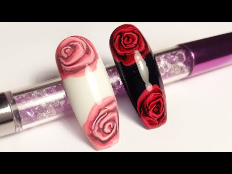 Розы на ногтях рисуем