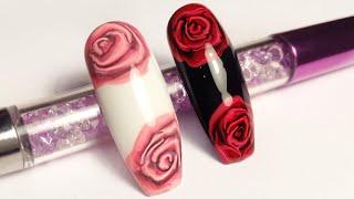 Как Рисовать Розу на ногтях пошагово Nail Art Flower Design How to Paint Rose on nails