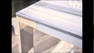 Modern Marble End Table - White Lines - Latera Ii