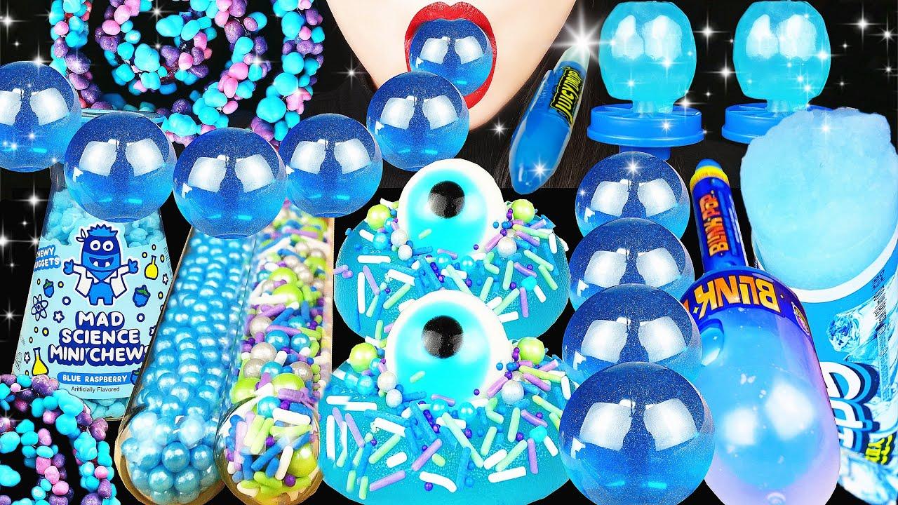 ASMR BLUE DESSERTS NERDS ROPE, TUBE POPSICLE, GUMMY EYEBALL, POP, ICE CRACKING CRUNCHY EATING SOUNDS