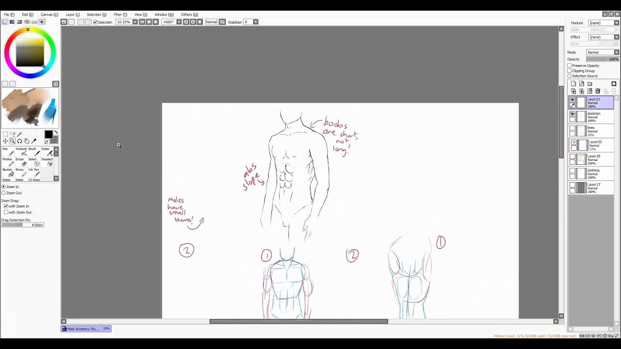 Male Anatomy Tutorial [rough anime-manga style] - YouTube