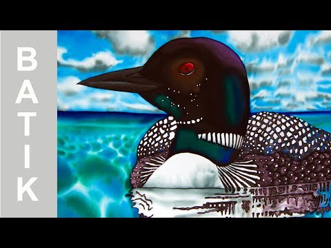 BATIK SILK PAINTING WITH JEAN-BAPTISTE – FINE ART – CANADIAN LOON