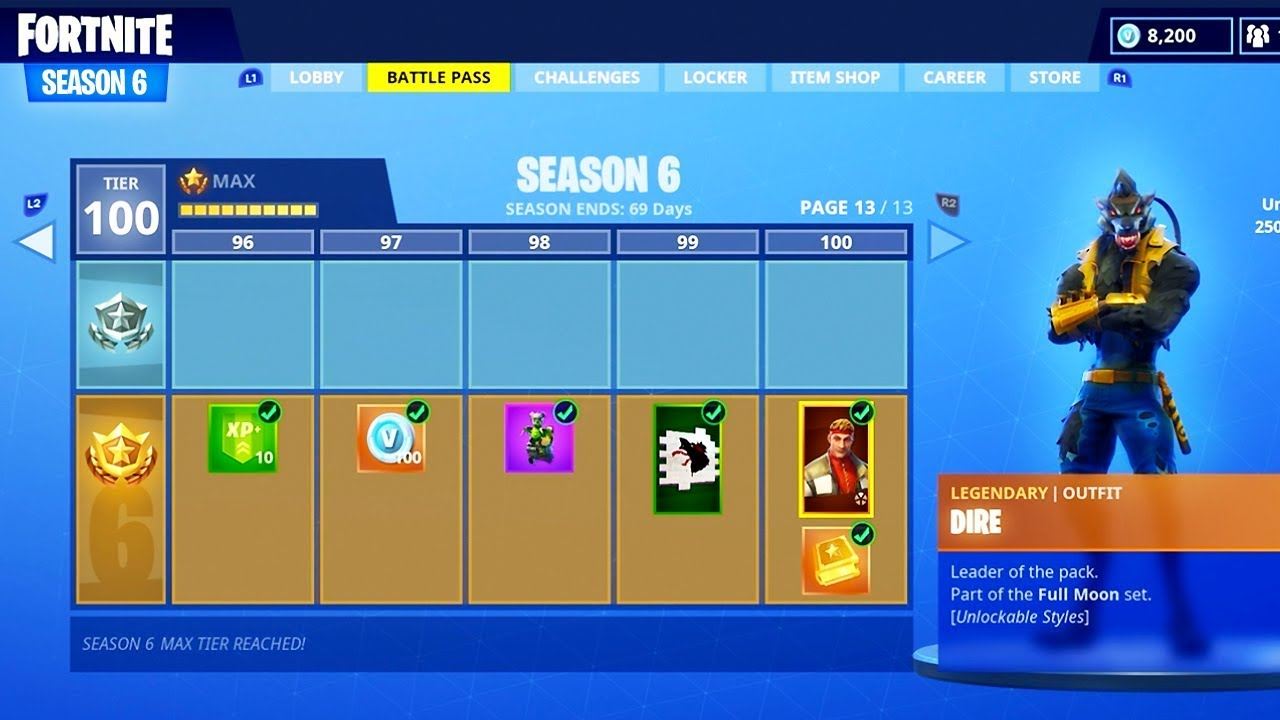 New Season 6 Battle Pass Tier 100 Skin Unlocked Fortnite Season 6