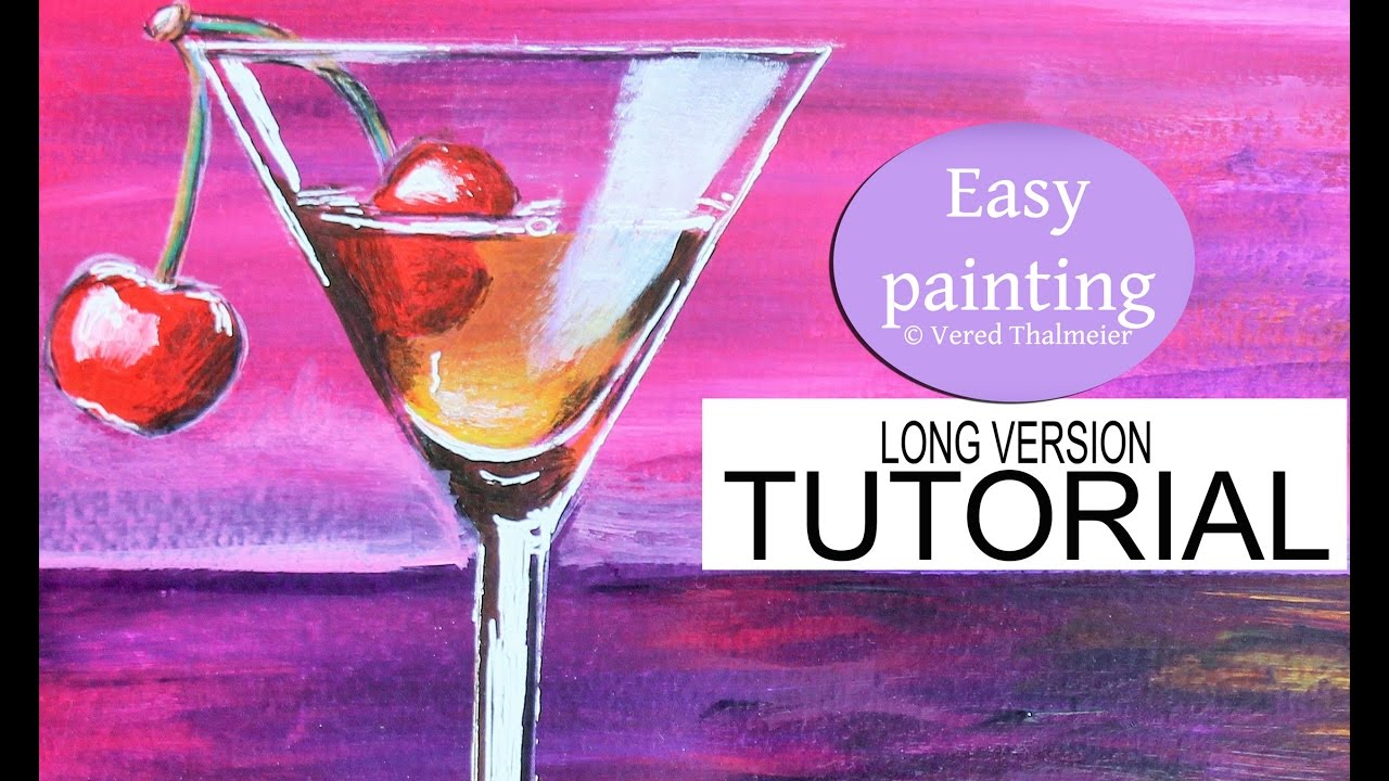 How to paint a cocktail glass at sunset acrylic tutorial for Paint and cocktails