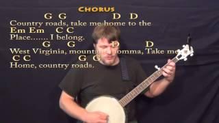 Country Roads (JOHN DENVER) Banjo Cover Lesson with Chords/Lyrics