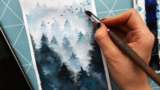 How to Paint Fog With Watercolor.Trees in the mist. Как рисовать деревья/лес в тумане акварелью.(Как рисовать деревья/лес в тумане акварелью. Туман. How to Paint Fog With Watercolor. Trees in the mist. Please - Like, Comment...Subscribe to my channel ..., 2016-12-11T15:21:20.000Z)