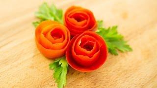 How To Make Tomato Rose Garnish