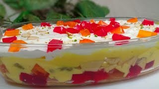 Fruit Custard Trifle Recipe  Custard Trifle Pudding Recipe  Cook With Lubna