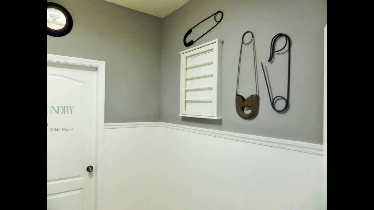 Diy Laundry Room Makeover Beadboard Paintable Wallpaper Youtube